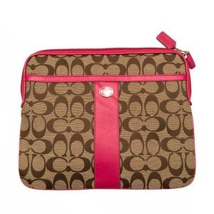 Coach signature c brown pink striped tablet case